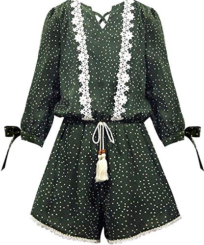 Smukke, Big Girls Vintage Lace Trimmed 3/4 Long Sleeves Romper with Pockets (Many Options), 7-16 (Olive White, 12)