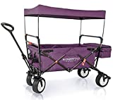 WonderFold Outdoor High-End NEW GENERATION Outdoor Utility Collapsible Folding Wagon with Canopy, Auto Locks, Spring Bounce, Brake, Stand, EVA Wide Tire (Purple)