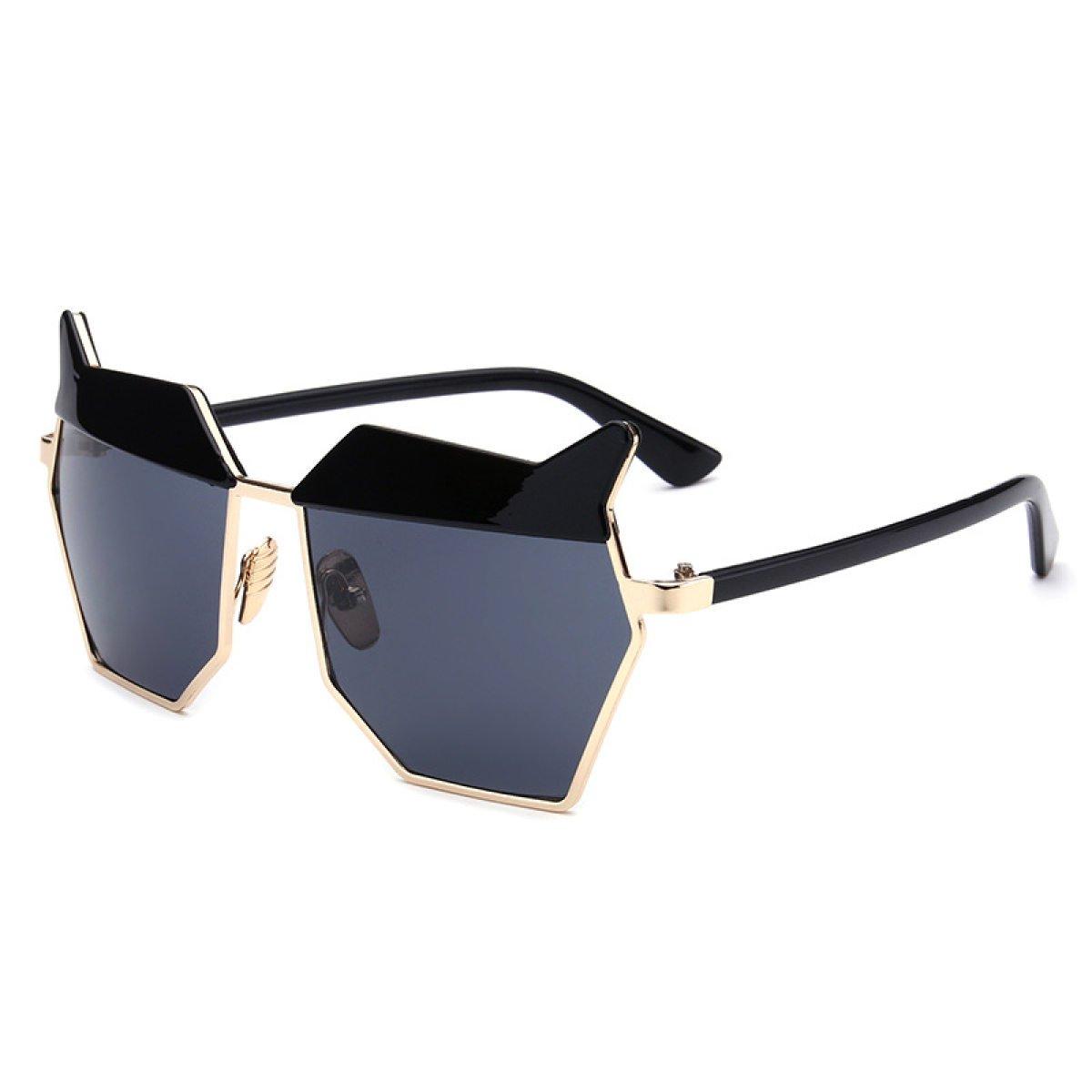 WKAIJC Frauen Mode Individualität Komfort Lässig Retro Katzenauge Sonnenbrillen Metall Hell Sonnenbrille,A