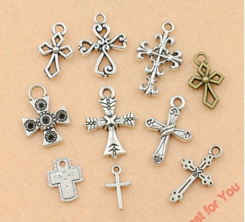 10pcs Mixed Tibetan Silver Plated Peace Hollow Flower Cross Charms Pendants Jewelry Making DIY Charm Crafts Handmade (NS589)