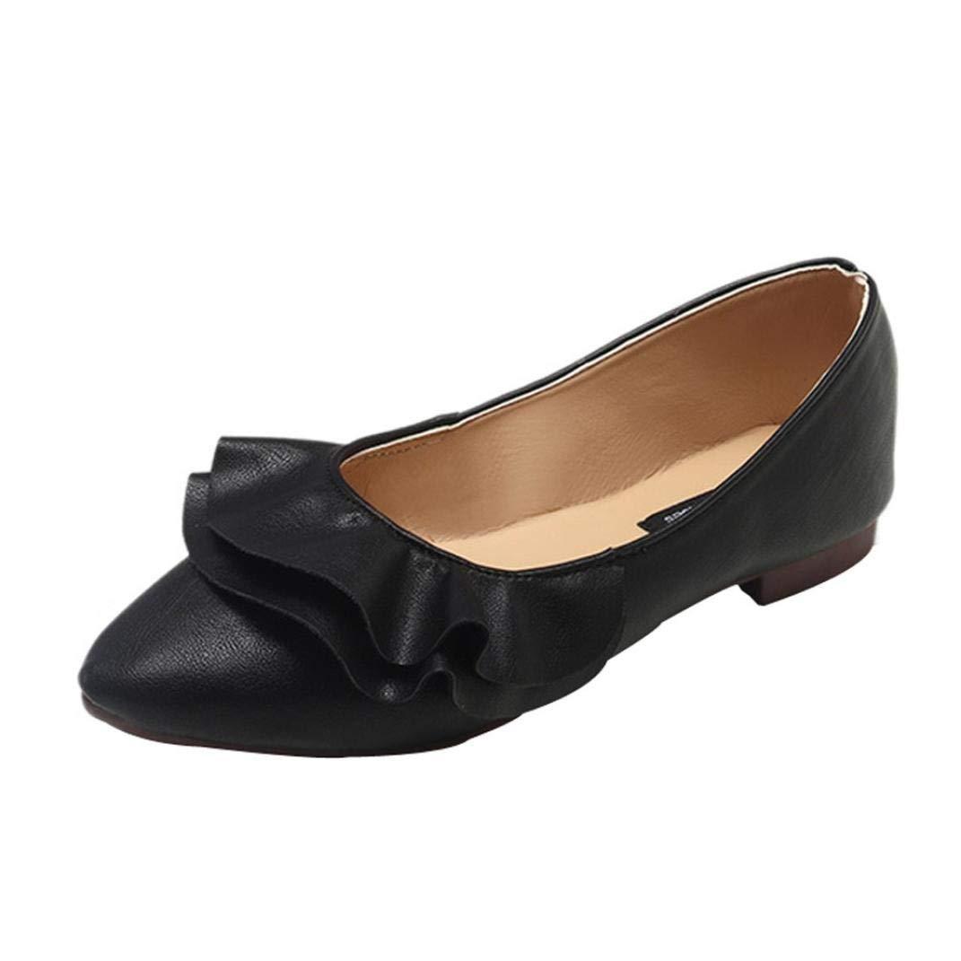 Qiusa Moda para Mujer de Cuero Pionted Toe Plisado Plano sin Cordones Zapatos cómodos Casuales (Color : Negro, tamaño : CN 37UK 3.5): Amazon.es: Hogar