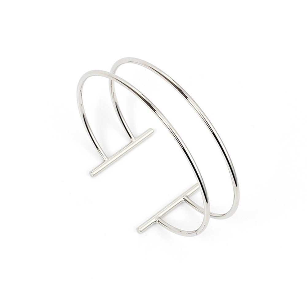 Dwcly Double Layer Hollow Geometry Simple Expandable Wire Cuff Bangle Bracelet All-match Wrist Jewelry (silver)