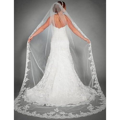 SHUAIGUO voile de mariage à un niveau chapelle voiles dentelle applique bord tulle accessoires de mariage