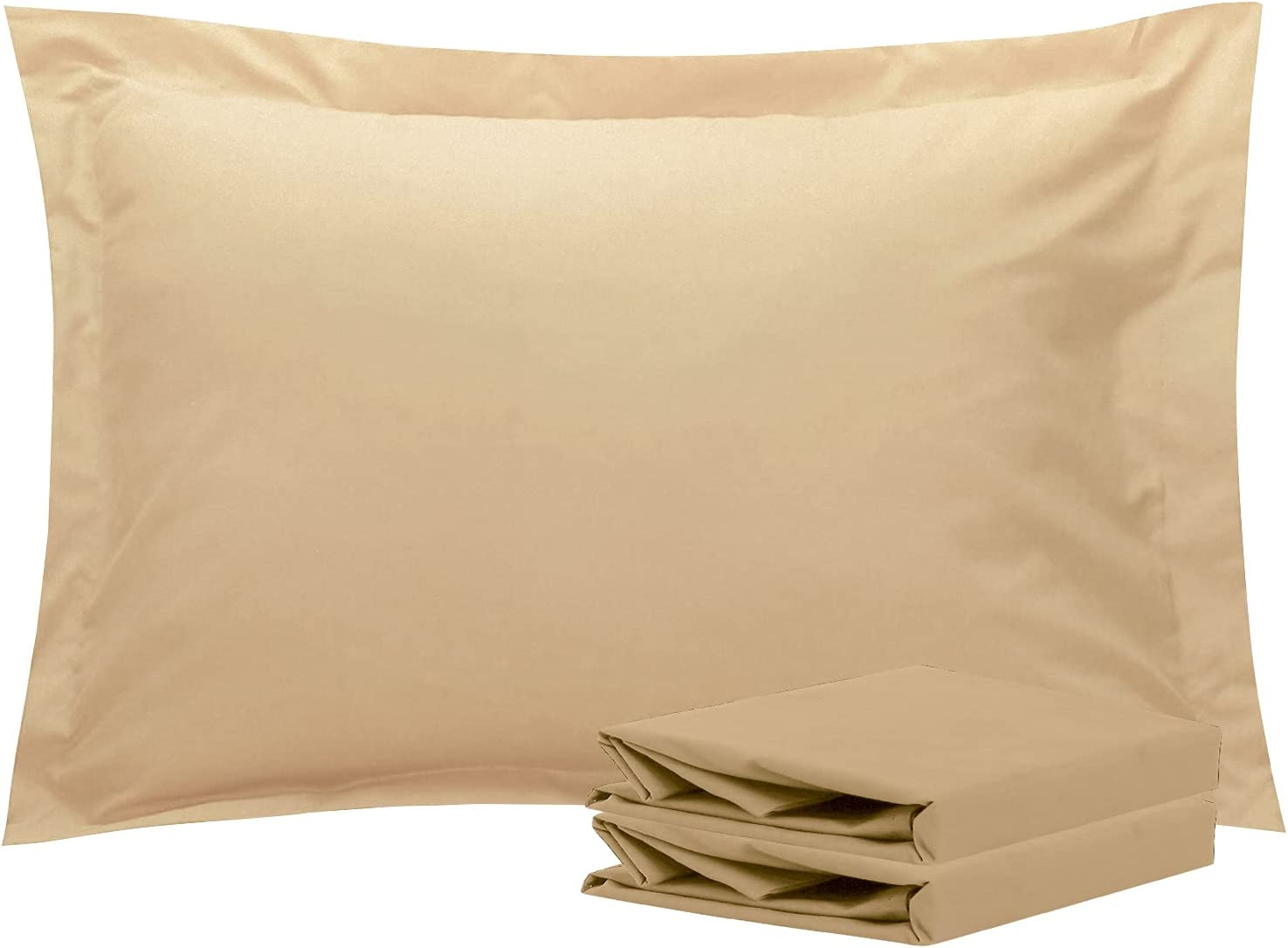 NTBAY Standard Pillow Shams, Set of 2, 100% Brushed Microfiber, Soft and Cozy, Wrinkle, Fade, Stain Resistant (Standard, Khaki)