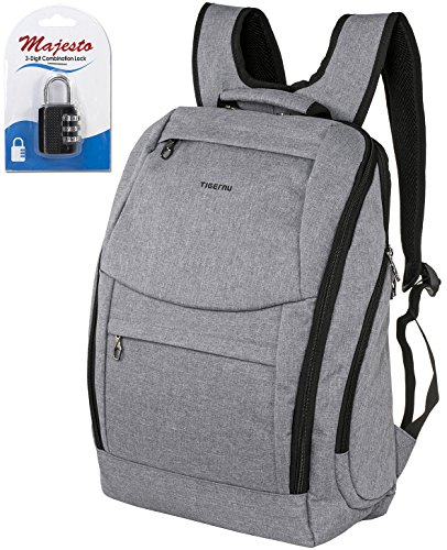 Laptop Backpack 14 Inch for Men and Women - Slim - Padded - Professional - Lightweight - Water Resistant - Ergonomic - With Bottle Holders - for Business College and Travel + Padlock - Bundle - Grey