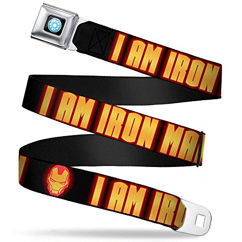 MARVEL AVENGERS Iron Man Arc Reactor Full Color Seatbelt Belt - Iron Man Face/I AM IRON MAN Black/Yellow Glow (Iron Man Glow Arc Reactor)