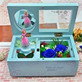 Birthday and Valentine's Day Gift Innovative Mirror Preserved Rose Rotary Dance Music Box (Blue)