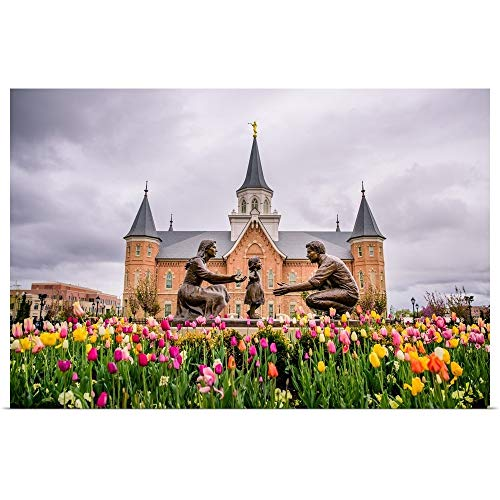 GREATBIGCANVAS Poster Print Entitled Provo City Center Temple, Family Statue in The Springtime, Provo, Utah by Scott Jarvie 18