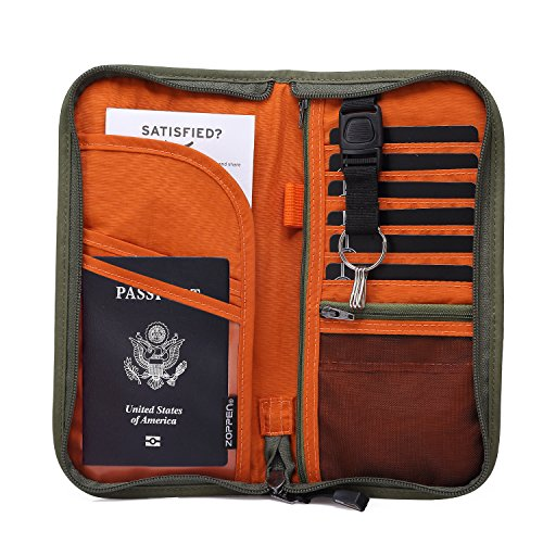 07. Zoppen RFID Travel Wallet & Documents Organizer Zipper Case, Family Passports Holder with Removable Wristlet Strap