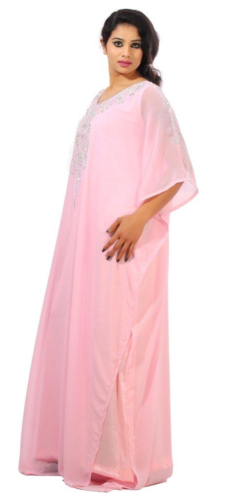 Dubai Very Fancy Kaftan Luxury Crystal Beaded Caftan Abaya Wedding Dress (XXXXL Light Pink) by Leena