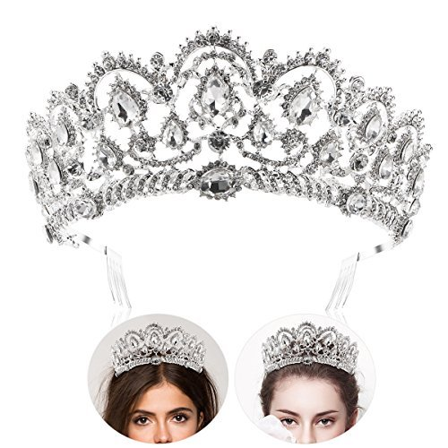 Frcolor Tiara Crowns ,Rhinestone Crystal Queen Tiara Headband Wedding Pageant Crowns Princess Crown for -