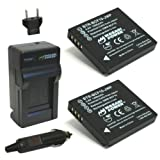 Wasabi Power Battery (2-Pack) and Charger for Panasonic Lumix DMW-BCF10, DMW-BCF10E, DMW-BCF10PP, CGA-S/106B, DMC-F2, DMC-F3, DMC-FH1, DMC-FH20, DMC-FH22, DMC-FH3, DMC-FT3, DMC-FT4, DMC-FX68, DMC-FX700, DMC-FX75, DMC-TS2, DMC-TS3, DMC-TS4