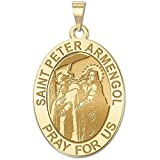 Saint Peter Armengol Oval Religious Medal 14K Yellow or White Gold, or Sterling Silver