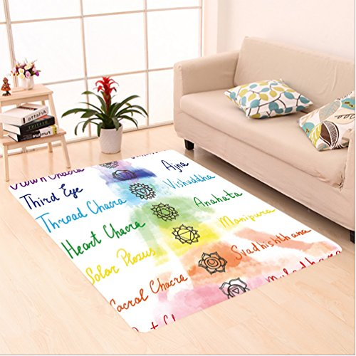 Nalahome Custom carpet akra Decor Brushstroke Inspired Lotus Pose Chakra Spots in the Body Faith and Harmony Icon Multi area rugs for Living Dining Room Bedroom Hallway Office Carpet (5' X 8') by Nalahome