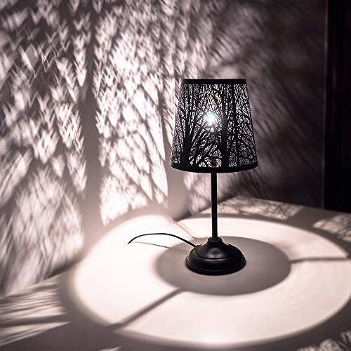 Forest Bedroom - Mini Table Lamps for Bedroom Bedside, Black Forest Lighting- Metal