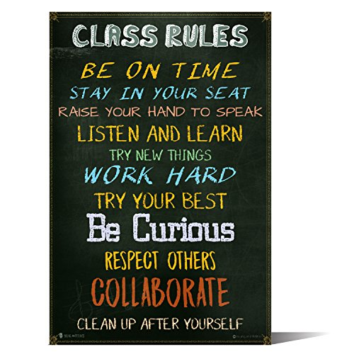 Classroom Rules Sign Chart Laminated Small by Teachers for Students Learning in School Study Hall (10X18) (10 Classroom Rules For High School Students)