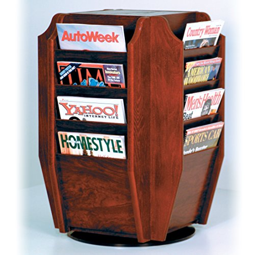 (Wooden Mallet Cascade Spinning Countertop Display with 16-Magazine Pockets, Mahogany)