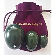 Nephrte Jade Yoni Eggs 3-pcs Set, Drilled, with Instructions and One Box 55 Yards String, 3 Sizes: Large, Medium & Small, for Training Love Muscles and Yoni Massage & Crystal Healing