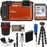 Nikon Coolpix W300 Digital Camera (Orange) with 32GB SD Card & Accessory Bundle