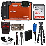 Nikon Coolpix W300 Digital Camera (Orange) with 32GB SD Card and Accessory Bundle