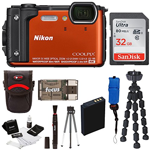 Nikon Coolpix W300 Digital Camera (Orange) with 32GB SD Card and Accessory Bundle