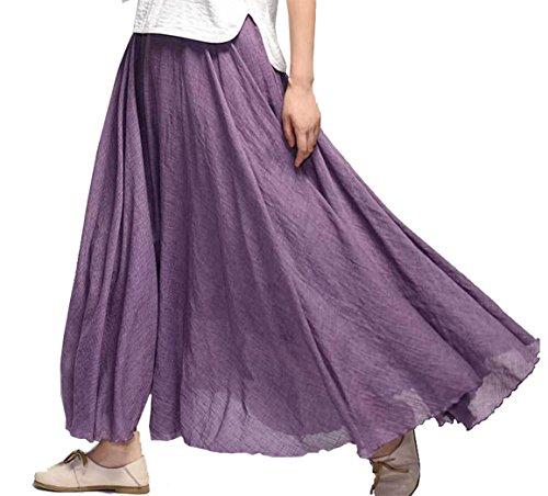 en Yeesea Elastique Boheme Tour Robe Jupe Coton Casual Femme Violet de Maxi Taille Plage xqYRqf0Tn