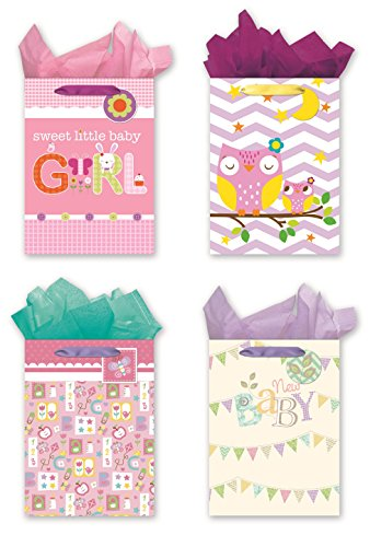 4 Jumbo Party Gift Bags,Baby Shower Gift Bags - Set of 4 Jumbo Sized Gift Bags w/Tags & Tissue Paper