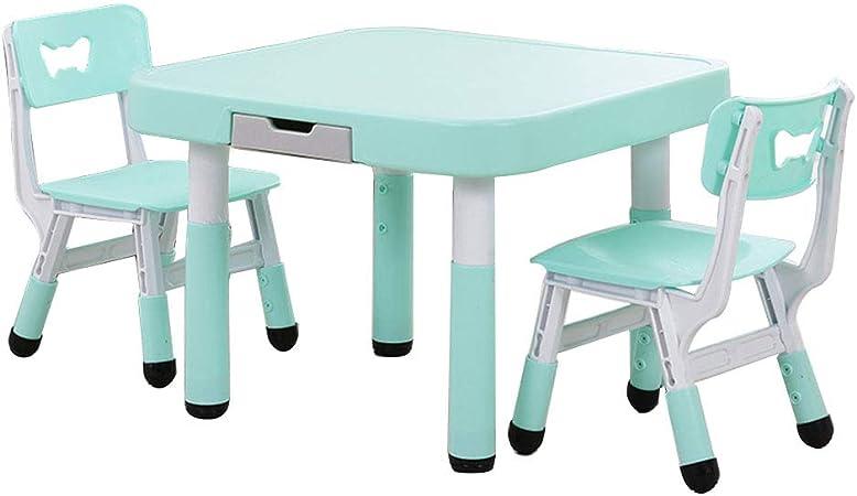 ZH Mesa para Infantiles con cajones, Juego de Mesa y Silla, Mesa de Actividades de Altura