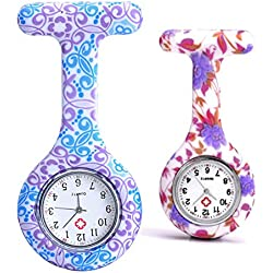 Top Plaza Women's Girls' Fashion Floral Nurse Clip-on Fob Brooch Silicone Jelly Hanging Pocket Watch, Pack of 2