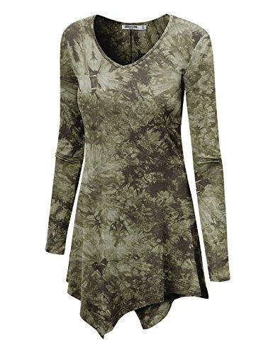 WT1062 Womens V Neck Long Sleeve Tie Dye Handkerchief Hem Tunic XXXL OLIVE by Lock and Love