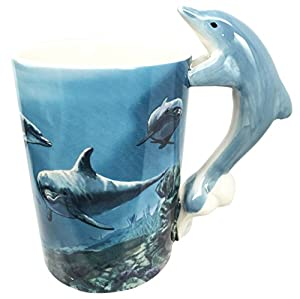 Ocean Marine Reef Bottlenose Dolphin 12oz Ceramic Mug Coffee Cup Home & Kitchen Decor Accessory