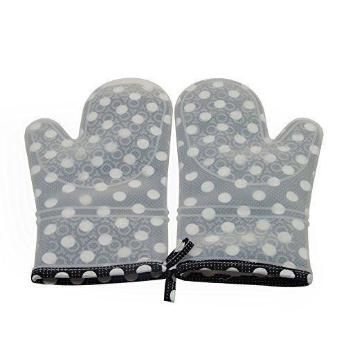 Mirenlife Premium Heat Resistant Silicone Oven Mitts with Quilted Cotton Lining for Kitchen Cooking Baking and more,1 Pair, White Polka ()