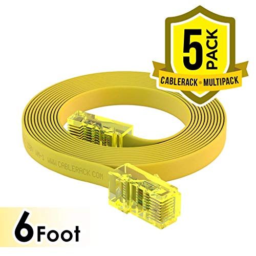CableRack 6ft Rollover Console Cable RJ45 to RJ45 Male for Cisco 72-3383-01 Yellow (5-Pack)