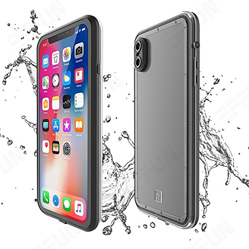 Effun iPhone X Waterproof Case, IP68 Certified Waterproof Shockproof Dirtproof Snowproof Case Fully Sealed Underwater Protective Cover with Built-in Screen Protector for iPhone X (5.8 inch) Black