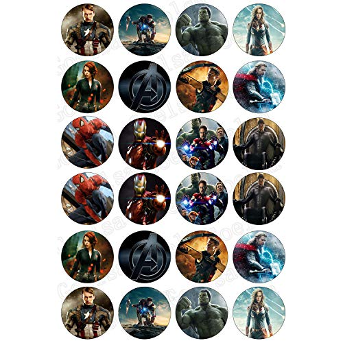 ELSANI 48 x Edible Avengers Cupcake Toppers Party Collection of Edible Cake Decorations Uncut Edible Prints on 2 Wafer -