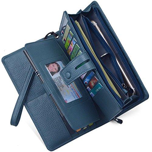 Women's Big Fat RFID Blocking Leather Wristlets Wallet Organizer Checkbook Holder (Blue)