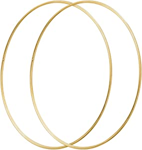 Sntieecr 2 Pack 19 Inch Large Metal Floral Hoop Wreath Macrame Gold Hoop Rings for DIY Christmas Wreath Decor, Dream Catcher and Macrame Wall Hanging Crafts