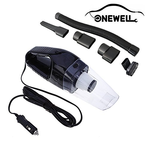 Onewell Car Vaccum Cleaner High Power DC 12v 150w Portable Handheld Car Vaccum Wet Dry 4Kpa Suction Auto Vacuum Cleaner Tools with Cigarette Lighter Plug(Black)