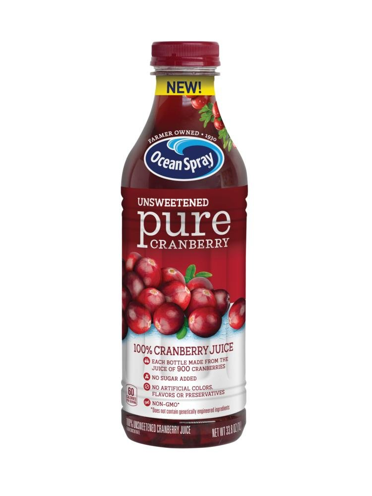 Ocean Spray 100% Juice, Unsweetened Pure Cranberry, 1 Liter Bottle (Pack of 8)