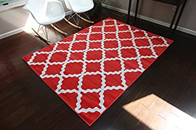 Generations Contemporary Pattern Crimson Red White Modern Area Rug Rugs 8041