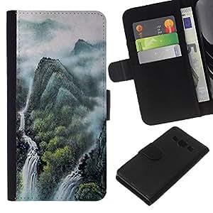 JackGot ( Pittura di paesaggio cinese ) Samsung Galaxy A3 la tarjeta de Crédito Slots PU Funda de cuero Monedero caso cubierta de piel