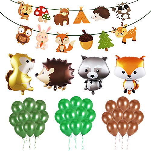Phogary Woodland Creatures Party Baby Shower Supplies (36pcs)