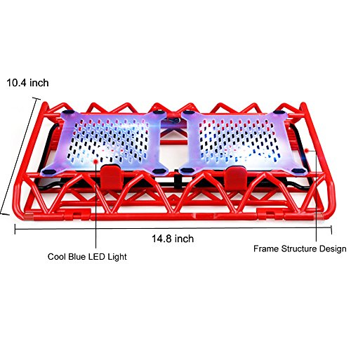 Laptop Cooling Stand - Portable USB Powered 12-15.6 inch Laptop Cooler Pad with 2 Ultra Quiet Fans and Blue LED Lights (Red) by Mebber (Image #5)