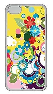 iPhone 5C Case, iPhone 5C Cases - Floral Burst Custom Design iPhone 5C Case Cover - Polycarbonate¨C Transparent