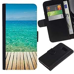 All Phone Most Case / Oferta Especial Cáscara Funda de cuero Monedero Cubierta de proteccion Caso / Wallet Case for Samsung Galaxy S6 // Blue Paradise Water