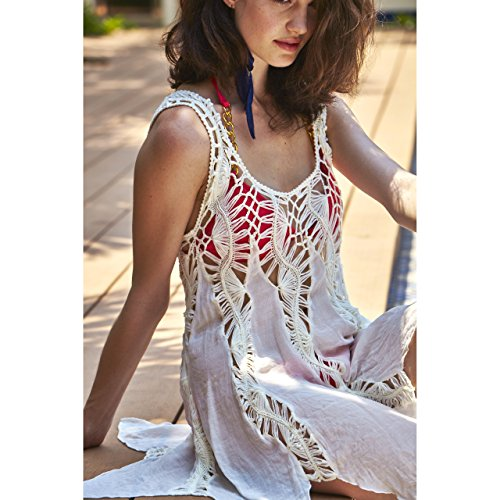 c66b2f29bb 50%OFF MG Collection White Boho Chic Crochet Swimsuit Cover Up   Sleeveless  Beach Top