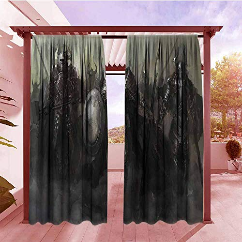 Darkening Curtains Fantasy World Decor Collection General Leading His Army Against The Enemy Evil Divine Power Nether World Soldiers Print Hang with Rod Pocket/Clips W84x72L Grey