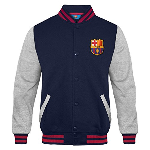 FC Barcelona Official Soccer Gift Mens Retro Varsity Baseball Jacket Large