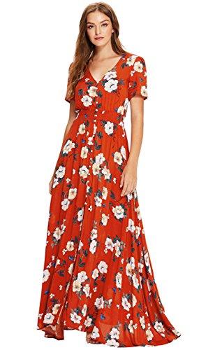 Milumia Women's Button Up Split Floral Print Flowy Party Maxi Dress XX-Large Multicolour-red ()