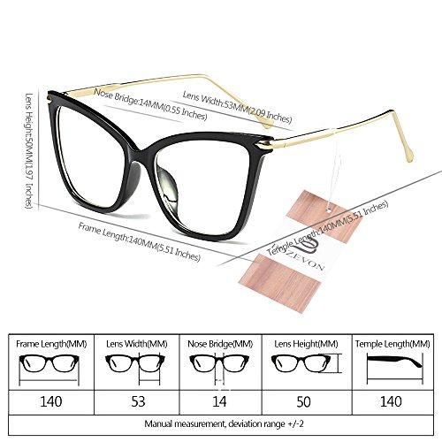 Oversize Clásico de Transparente Gato Gafas Retro Ojo de Mujer Fiesta BOZEVON Gafas Negro Moda Transparente Sol q8gxw4vA